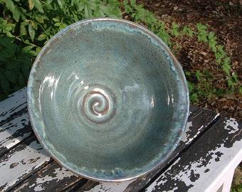 Handmade stoneware serving bowl in grayish blue