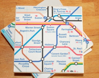 4 London Underground Tube Map Coasters,Ceramic Coasters,Tube Coasters,Underground Coasters,London Map Coaster,Secret Santa,Stocking Filler