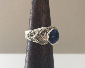 ON SALE! 40% OFF! Unisex Snake Ring, Lapis Lazuli, Sterling Silver Snake Ring, Mens Ring, Womens Ring, Ouroboros Ring, Signet Ring