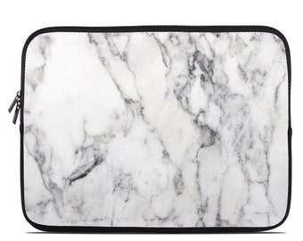 Laptop Sleeve Bag Case - White Marble - Neoprene Padded - Fits MacBooks + More