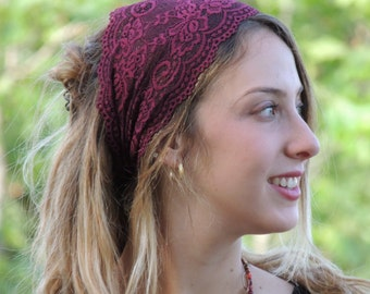Stunning Bordeaux Lace Headband Bandana, Tichel, Head Covering,scarf, Half Coveing, Pre-tied,loss Hair