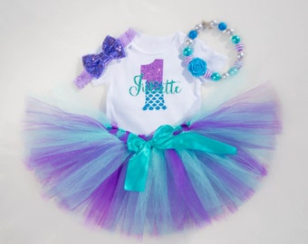 Mermaid First Birthday Outfit Personalized | Little Mermaid 1st Birthday Outfit for Baby Girls | Under the Sea Birthday