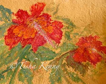 Florida Hibiscus ORIGINAL ART on Thick Yellow Rice Paper Un-framed