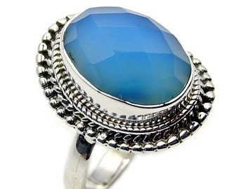 Blue Chalcedony & .925 Sterling Silver Ring Size 6.75 , Z339
