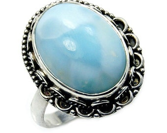 Blue Wonder' Rare Dominican Larimar Ring Bold Ring & .925 Sterling Silver Ring Size 8 1/4 , Y554