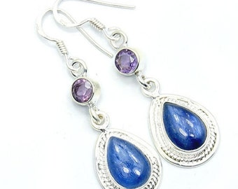 Kyanite, Amethyst & .925 Sterling Silver Dangle Earrings ; U542