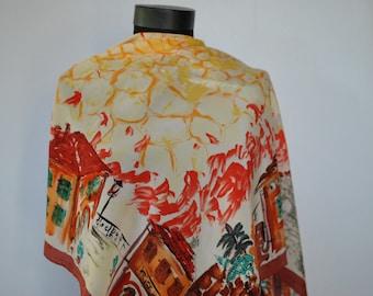 Vintage LOREDANO PRINTED SILK scarf , hand rolled silk scarf......(189)
