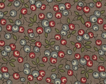 Moda Quilt Fabric - French General  - Petite Odile - Berries Print on Stone Background -  13616-15 - Two Yards