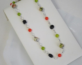 Long Bead Necklace Orange Green and Black