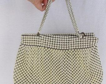 VTG White Enameled Mesh Whiting & Davis Handbag
