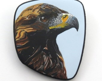 Eagle polymer clay cane brooch