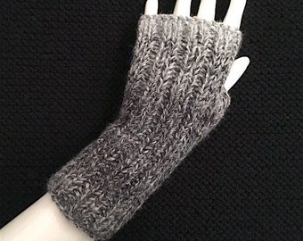 Knit Fingerless Gloves, Grey Fingerless Gloves, Fingerless Hand Warmers, Cont Rib, Marble Grey, fg-cr103