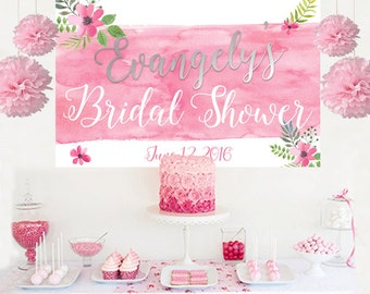 Bridal Shower Watercolor Flowers Personalized Backdrop, Wedding Shower Cake Table Backdrop -Anniversary Backdrop, Printed Vinyl Backdrop