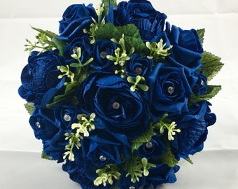 Large Artificial Navy Bridal Bouquet