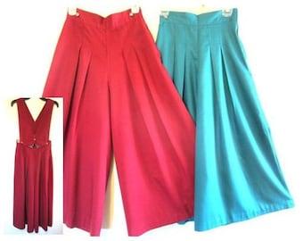Vintage 80's Ladies Wide Leg Gaucho Suspender/Vest Split Skirt, Western Southwestern Style Culottes Wide Leg Pants Attached Vest Retro Style