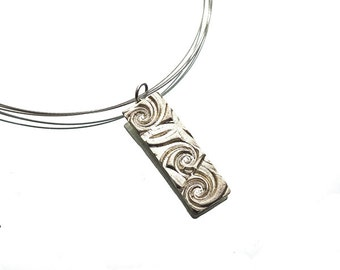 Silver waves rectangular necklace, hand sculpted Art Clay silver rectangular pendant, stainless steel finishing, beadalon, organic silver