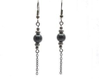 Dangling hematite earrings, dark grey hematite beads, stainless steel 316 l beads and finishing/Dangling Hematite earrings