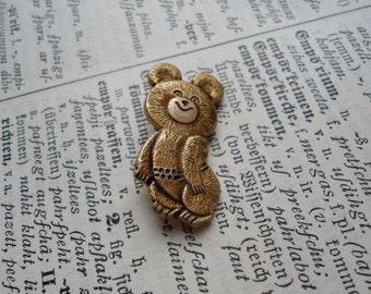 Olympic Bear Pin 1980 USSR, Moscow Russian bear, little Teddy bear