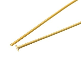 50 Gold Tone Flat Head Pins - 2""
