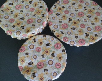 Reusable Bowl Covers, Elastic Bowl Covers, Eco Friendly Lids, Honey Bees Bowl Covers