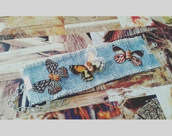 Boho denim bracelet with 3  colorful butterflies