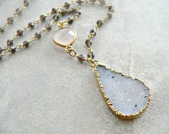 Druzy Crystal + Smokey Topaz + Pink Chalcedony Gold Necklace