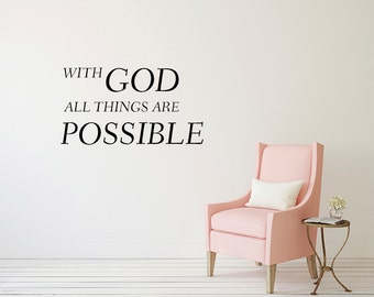 With God All Things Are Possible Wall Quote