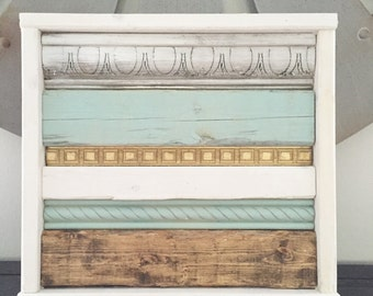 Framed plank art - rustic aqua - fixer upper decor