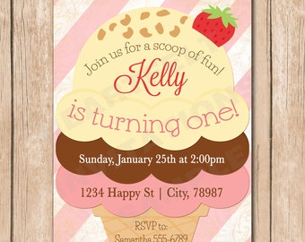 Ice Cream Birthday Invitation | Girl, Cone, Neapolitan Sundae - 1.00 each printed or 12.00 DIY file