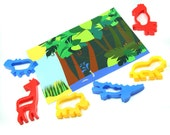 Jungle playdough mat with animal cutters