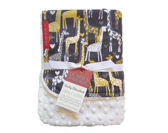 Minky Baby Blanket in Gray and Yellow Giraffes - Designer fabric Minky Baby Blanket - Boutique baby blanket - gender neutral, gray, silver