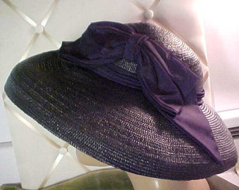 """Vintage 1930s Navy Wide Brim (4"""") hat, has  large bow, elastic to hold it on #1029"""