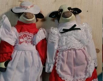 Milk Maid Porcelain Cow Doll - 2 versions -