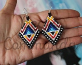 """First Nations """"Native Bling"""" Beaded Brick-Stitch Earrings"""