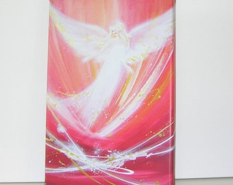 """Canvas art angel stretched on wooden frame: """"Touched by love"""" , contemporary painting, red artwork, guardian angel"""