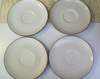 Vintage HEATH CERAMICS Four Saucers – Coupe Line – Opaque White – Pottery - Stoneware – California Pottery – Minimalist - Modern -