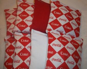 8 ACA Regulation Cornhole Bags - Coke Coca Cola Argyle Print on Red and White Backs