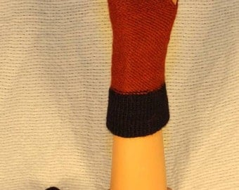 Alpaca Fingerless Gloves in Red and Navy Blue