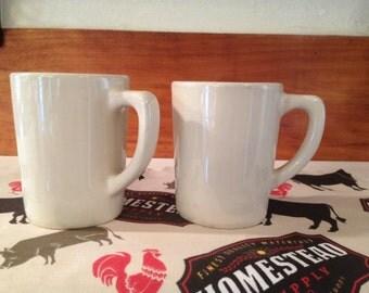 Vintage Burden China Restaurant Ware Mugs, Coffee Cups, White Ironstone.
