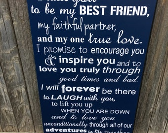 Navy Blue Wedding Decorations Wedding Vows Sign Navy Blue Sign 5th Anniversary Gift for Her Fifth Anniversary Gift Wood Anniversary Gift