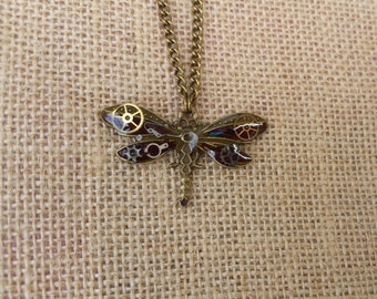 Steampunk Necklace, Mechanical Dragonfly Pendant, Dragonfly With Vintage Mechanical Watch Parts