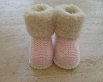 Knitted Baby Girl Fur Booties, Baby Girl Boots/booties  - Size 3 to 6 months Ready Made