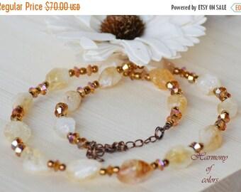 Sale Citrine Necklace,Amber Crystal Necklace