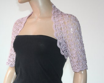 Wedding Bridal Bolero Shrug Lace Crochet Knit Shrug Boleros Lilac Silk