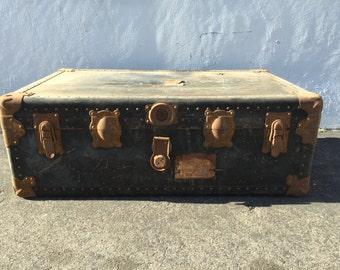 Trunk Vintage Storage Rustic Steamer Coffee Table Hope Chest Blanket Leather Bed Bench Wood Boho Beach Cottage Coastal Wardrobe Primitive
