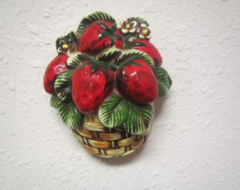 Vintage LEFTON STRAWBERRY BASKET  ceramic Wall hanging # 4288; Japan strawberries, decor