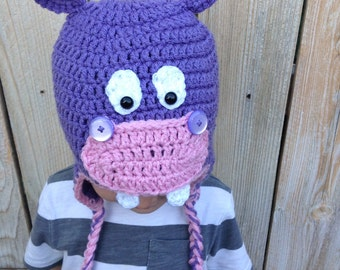 Crochet Infant Toddler Hippo Hat Beanie With Braids
