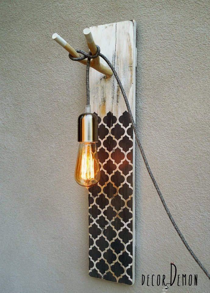 Wall Lamps Etsy : wall lamp handcrafted wall lamp upcycled pallet lamp by decordemon