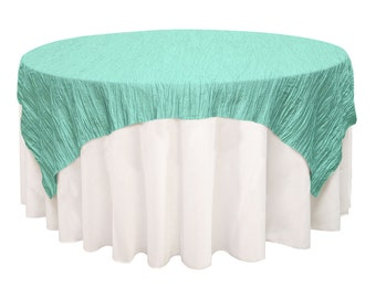 72 inch Square Crinkle Taffeta Table Overlay Tiffany | Wedding Table Overlays