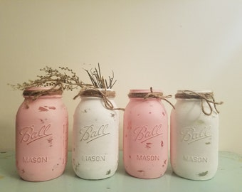 Mason Jar, Painted Mason Jar, Wedding, Baby Shower, pink and White, Set of 4